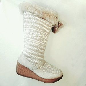 Red Camel Summit Knit & Suede Tall Boots Pom Poms